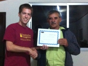 Dustin with Association President Alejos