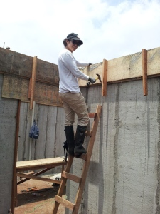 Construction volunteer on ladder