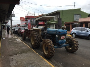 Tractor parked on city street
