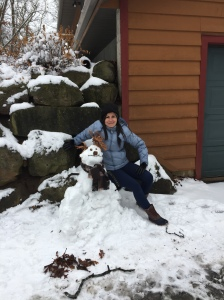 Snowman with girl