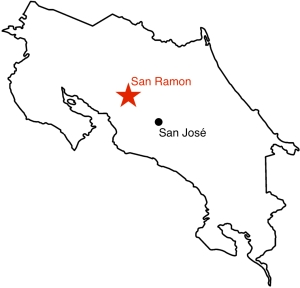 San Ramon on Costa Rica map