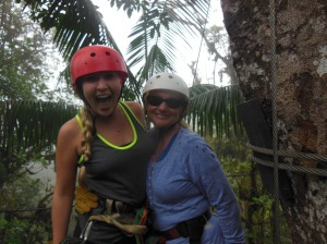 mom and daughter zipline